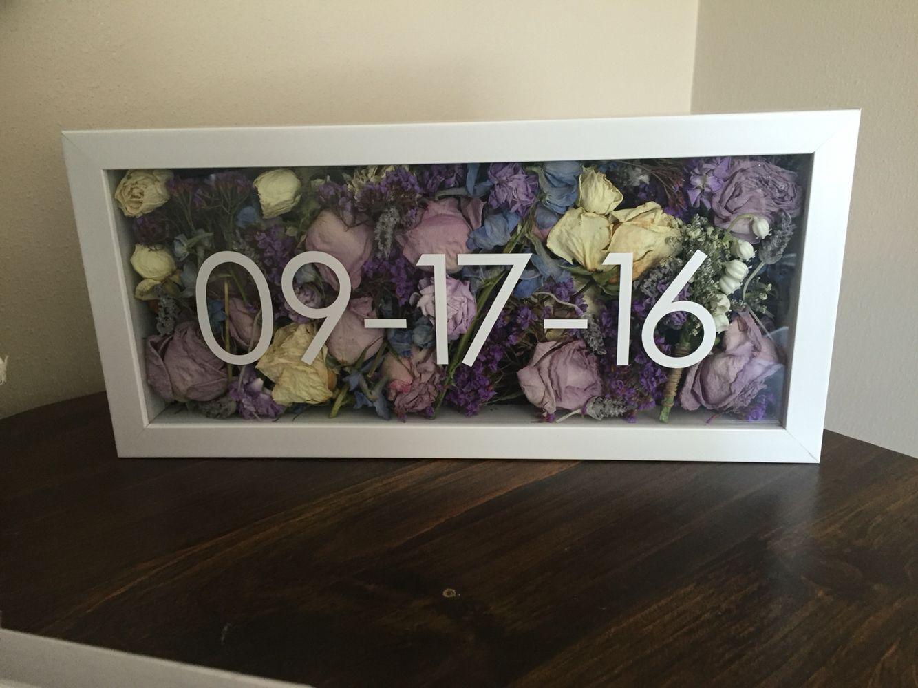 Dried Wedding Bouquet Shadow Box Wedding Keepsakes Wedding