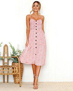 f163378b81e Women s Dresses Summer Floral Bohemian Spaghetti Strap Button Down Swing Midi  Dress with Pockets at Amazon Women s Clothing store