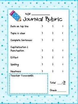 Journal Rubric Self Assessment Perfect For 1st 3rd Grades