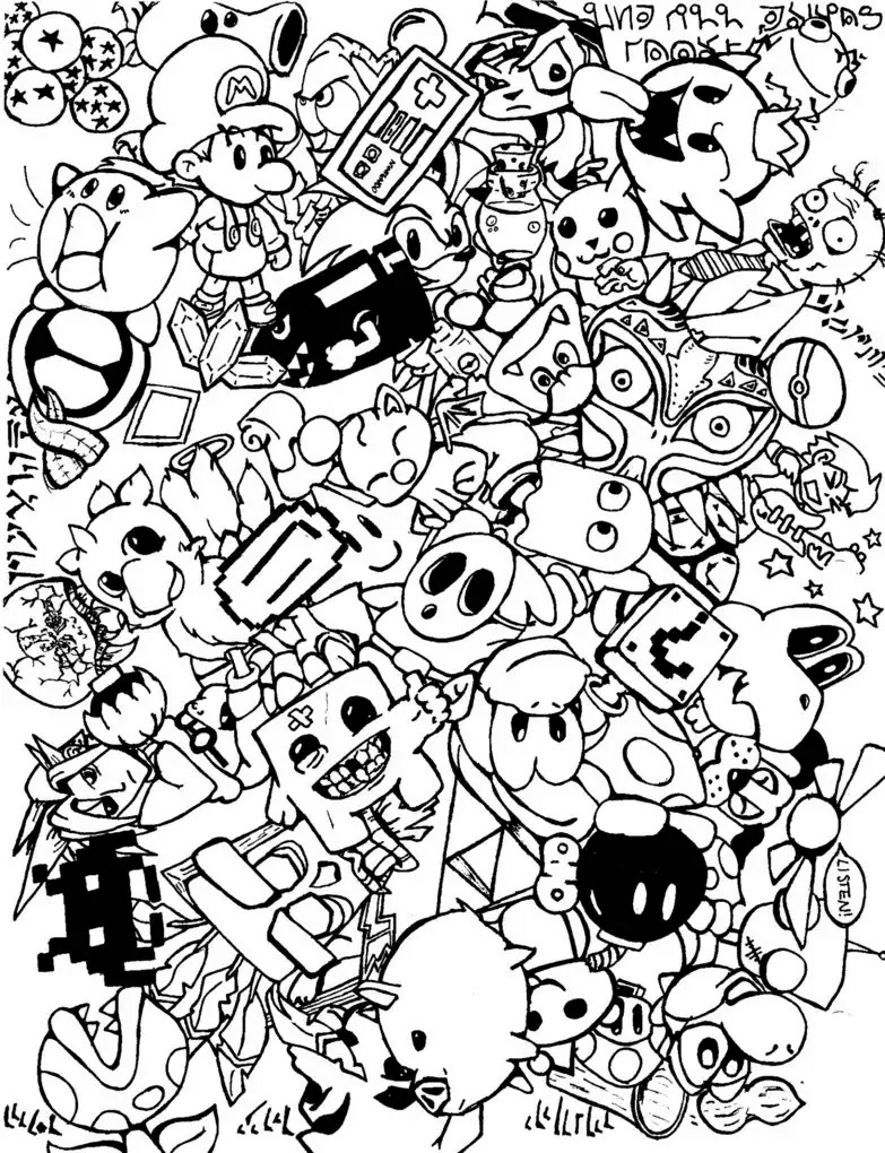 Adult Doodle Art Doodling 5 Coloring Pages Printable And Book To Print For Free Find More Online Kids Adults Of