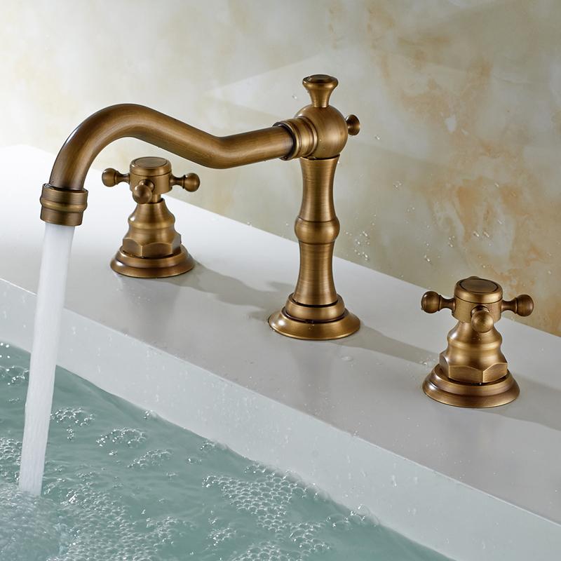 Antique Sink Faucet Brass Finish Widespread Bathroom Sink Tap Brass Bathroom Faucets Bathroom Sink Bathroom Sink Taps