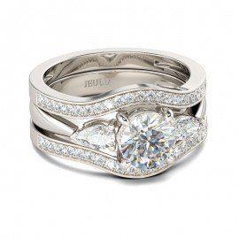 Jeulia 3PC Round Cut Created White Sapphire Wedding Set