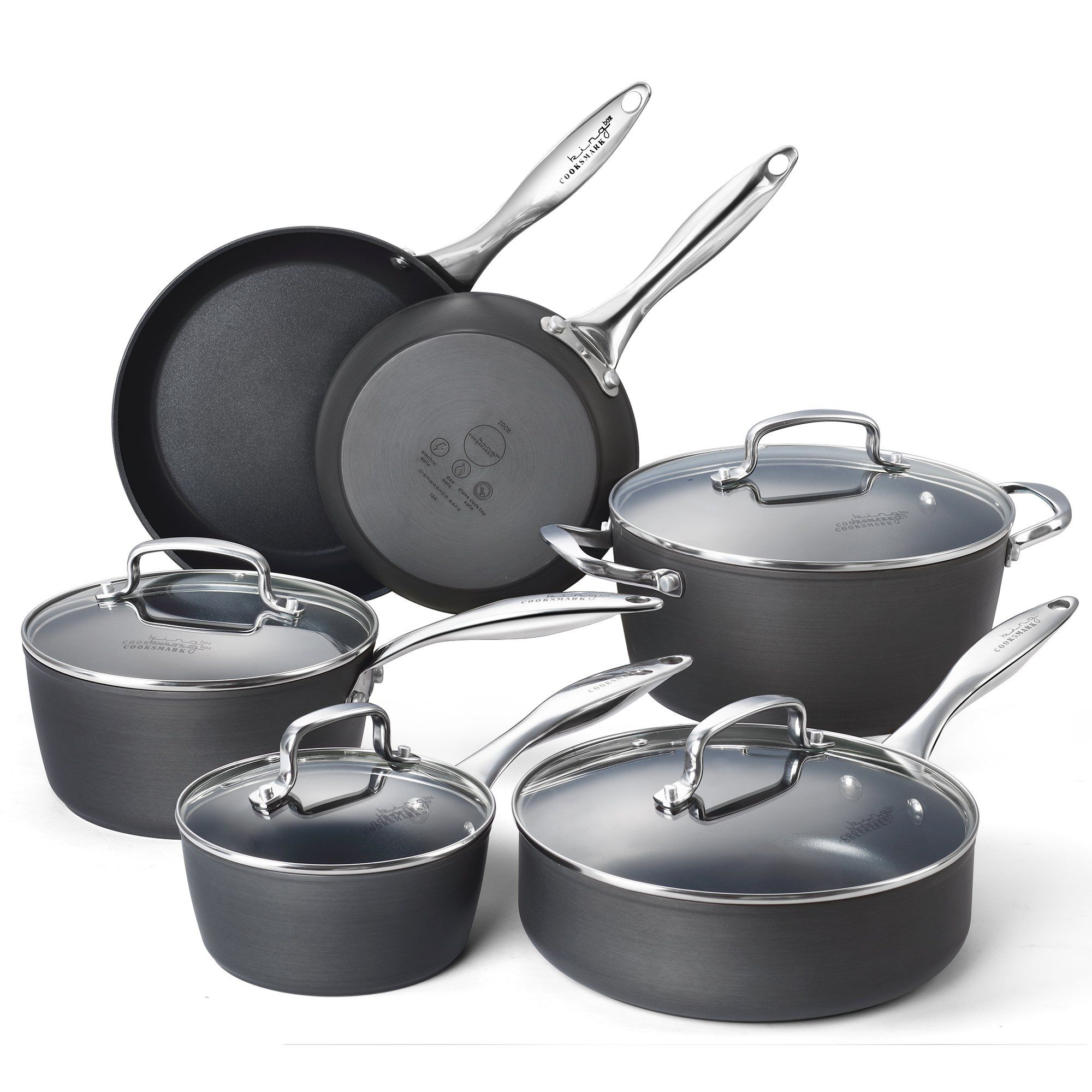 Cooksmark Kingbox Hard Anodized Aluminum Nonstick Cookware Set 10 Piece Grey Cookware Set Nonstick Cookware Set Pots And Pans Sets