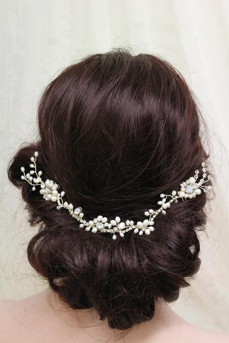 Freshwater pearl hair comb wedding hair comb bridal hair