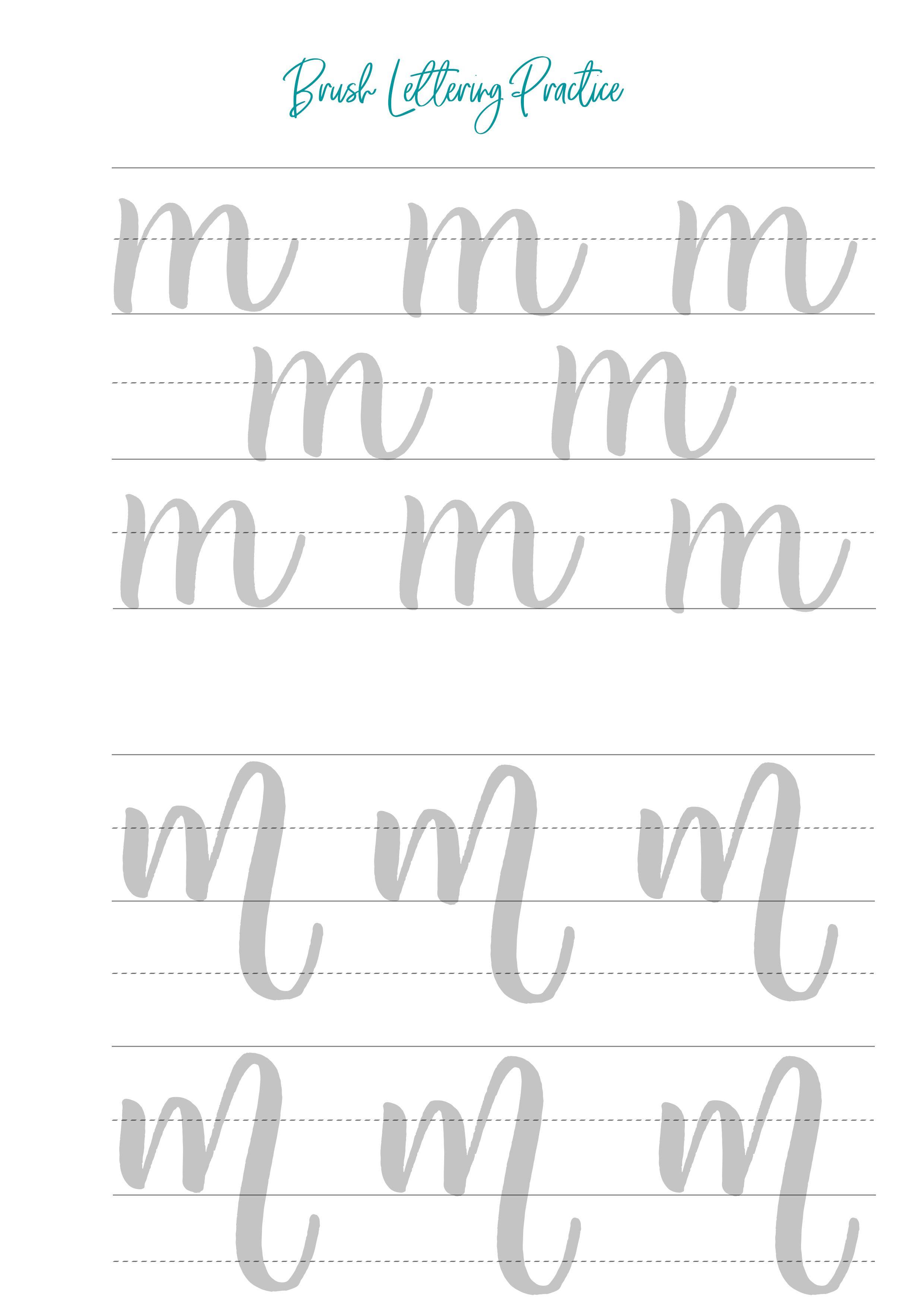 Brush Lettering Worksheets Lowercase And Uppercase Lettering