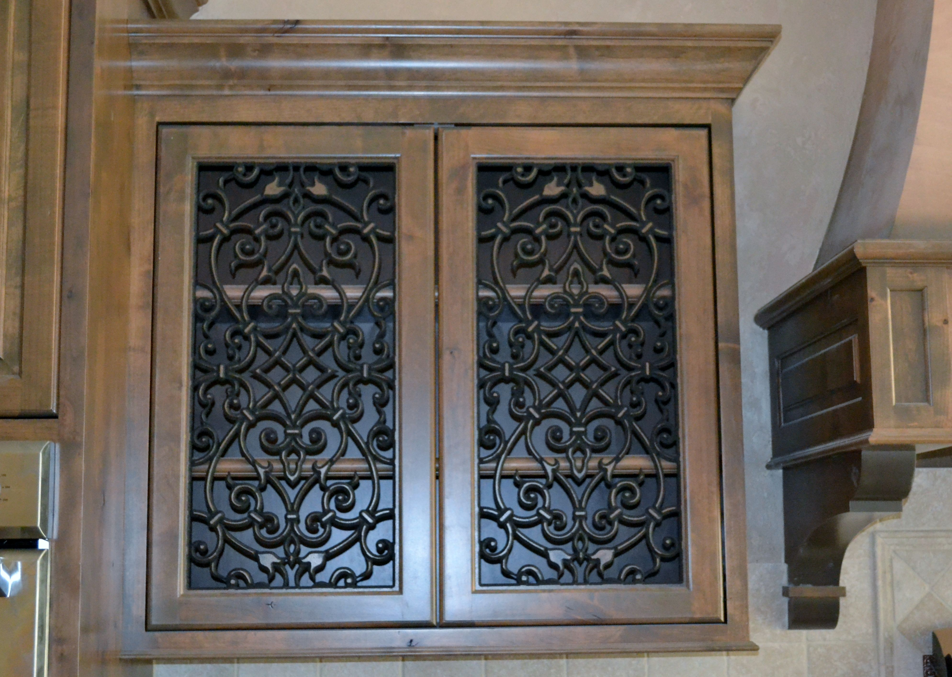 kitchen cabinet doors with faux iron inserts from faux iron solutions wonderful product - Faux Kitchen Cabinets