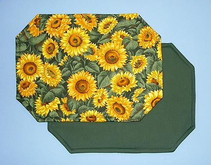 Sunflower Kitchen Stuff Octagonal Placemats Set Of Four Decor