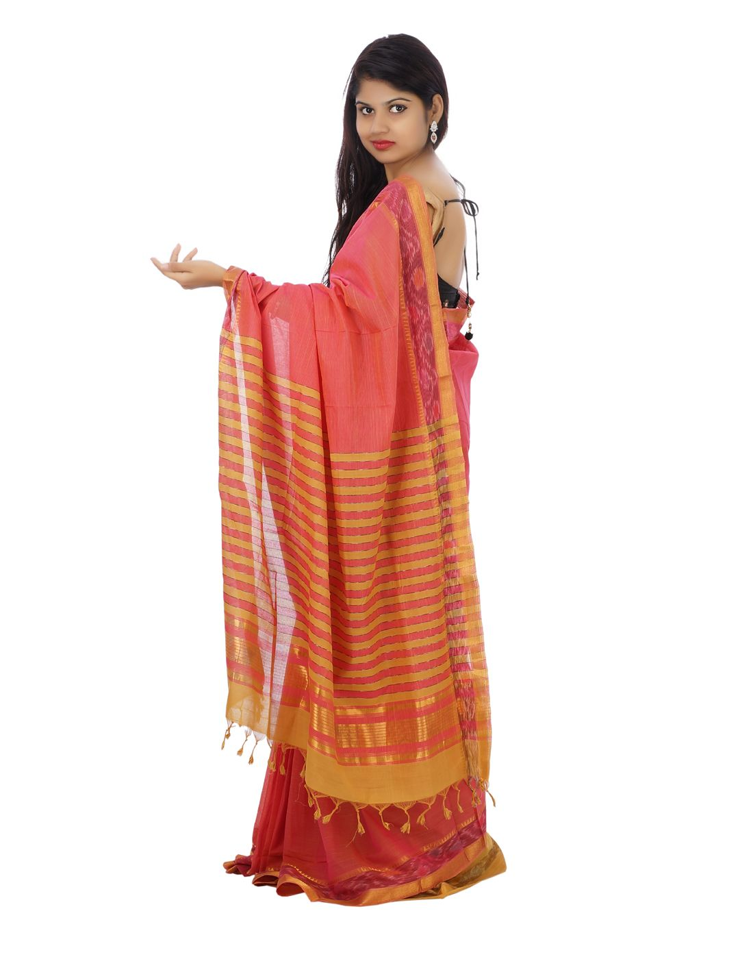 d281436db33 Dark pink Color Mangalagiri Cotton Saree with pochampally ikat design on  border- side view