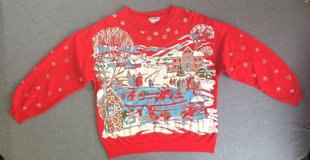 90s Christmas Sweaters.Vintage 90s Ugly Christmas Sweater Holiday Sweat Shirt Puffy