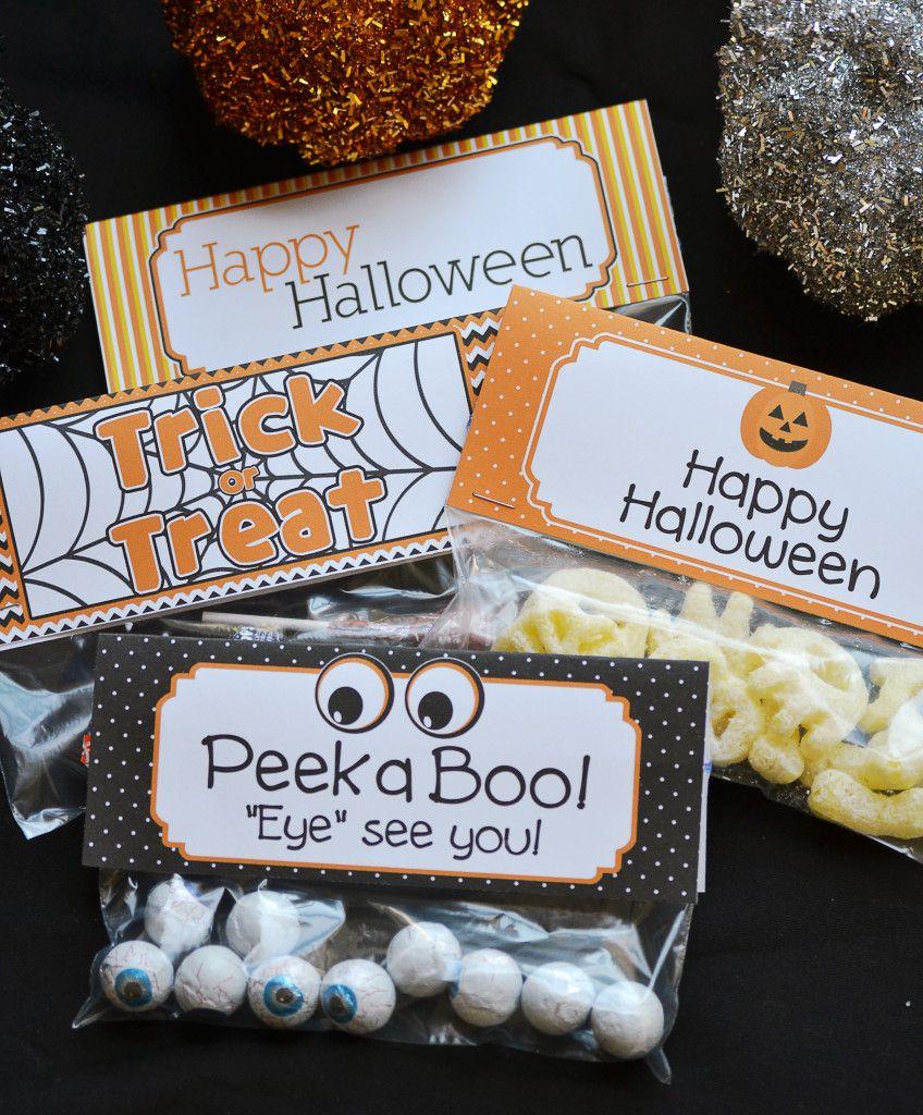 4 Halloween PYO Cookie Treat Bag Topper Printable Treat Bag Toppers Fall Tags Halloween Goodie Bag Topper Trick or Treat Cookie Tags