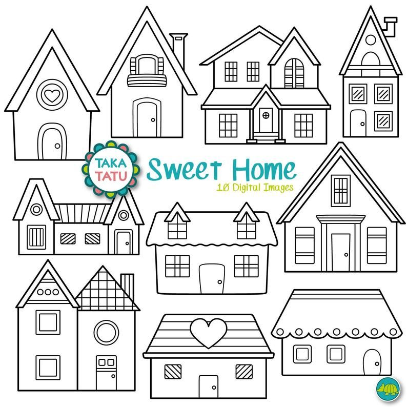 Sweet Home Digital Stamp Pack Black And White Clipart House Clipart Home Clipart House Clip Art Home Digi Stamp Instant Download Digital Stamps Digi Stamp House Clipart