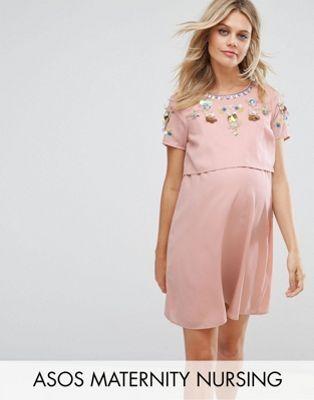 fc14224531d3c ASOS Maternity NURSING Embellished Flower Double Layer Dress ...