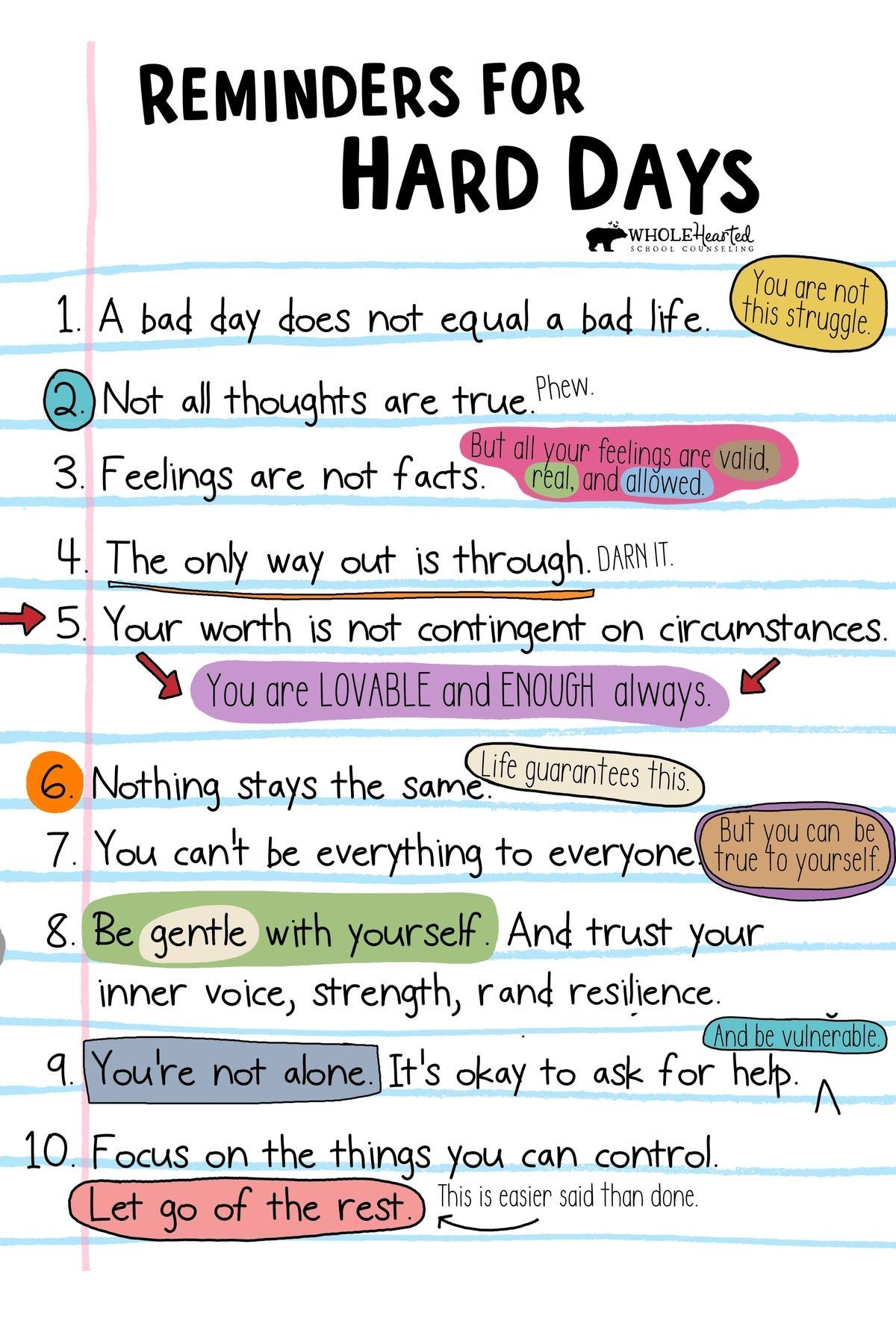Download Free PDF! Reminders for Hard Days Poster Teachers, Parents Can Use with Students, Children