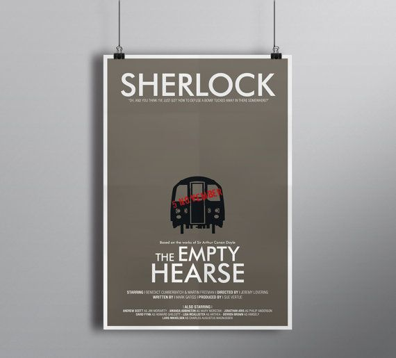London Underground // The Empty Hearse Sherlock Episode Print // Typography and Carriage Illustration with Guy Fawkes Day