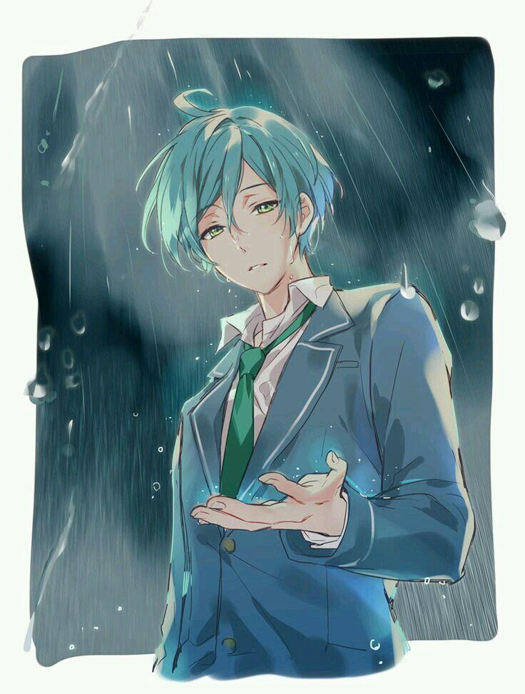 Anime Guy Formal Light Blue Hair School Uniform Rain Cute Anime Guys Anime Cute Anime Boy
