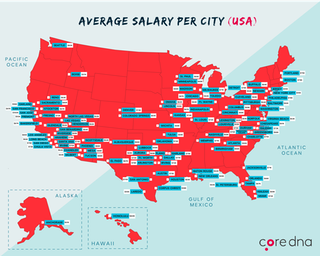 Average Salary Per City From 19 628 Marketing Related Job Listings By Core Dna Map Usa Economy Map Cartography Job