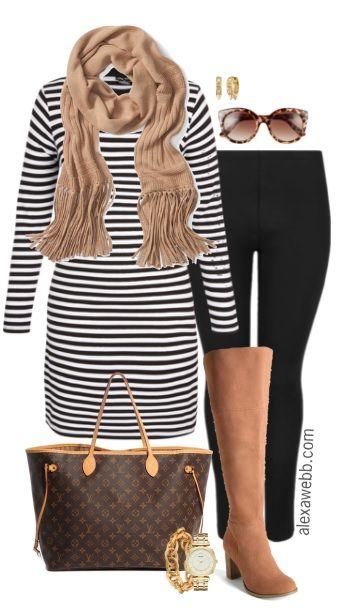 Plus Size Striped Tunic Outfit