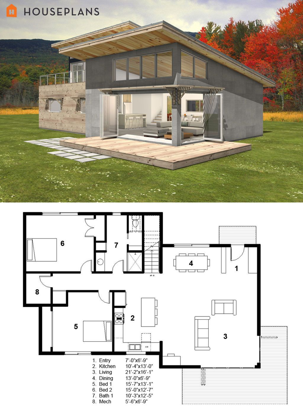 Small Modern cabin house plan by FreeGreen Modern style house plans Cabin house plans Small