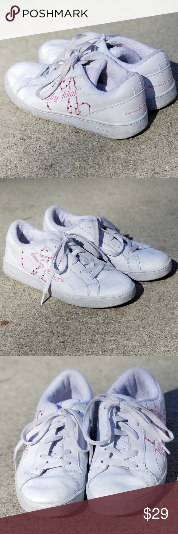 Baby Phat Tennis Shoes Boys 7.5 or Women s 9 Unisex Baby Phat Tennis Shoes  White and pink Used but in great condition Boys size is 7 1 2 Girls size is  9 ... 276527c102