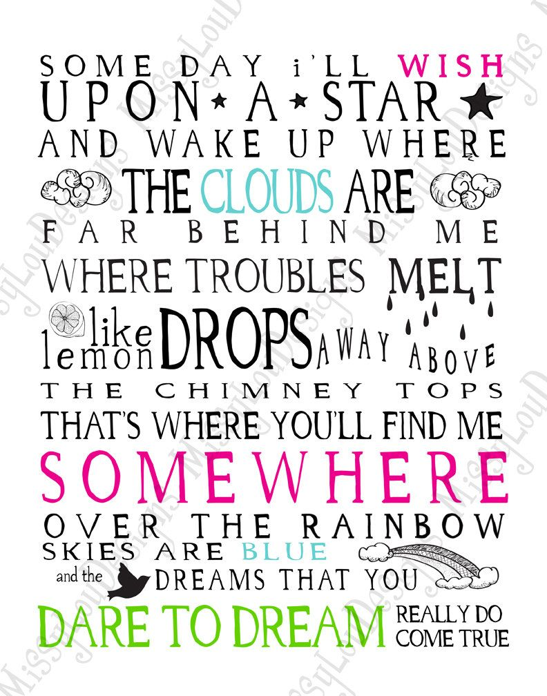 Somewhere Over The Rainbow Lyrics Typography By Missyloudesigns 5 49 Quotes Cool Words Inspirational Quotes