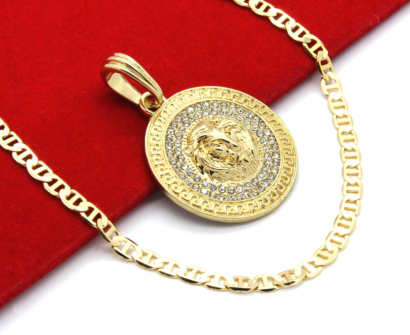 pendant iced link cuban s mens diamond pnd yellow genuine men gold medallion ct