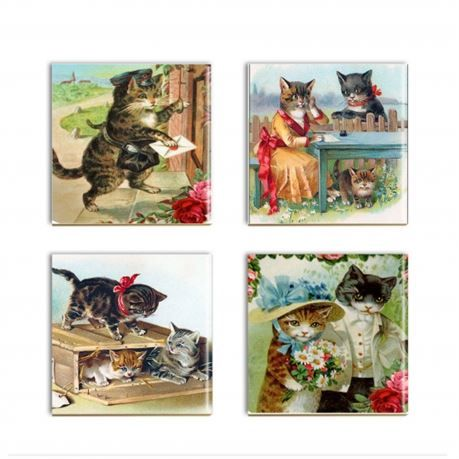Setoffour assored Victoriandressed catceramic tile sublimated drink coasters.       The cute kittencoaster images are permeated into and come part of the 4 1/4 square ceramic tiles. They are done with sublimation inks and with a heat press. The coasters are durable and the images will not fade, crack or peel. You do not have to worry about your glasses sweating on top of these or hot coffee cups.  These cat lover coasters are sleek and the images are vivid and durable  The backs of the t...