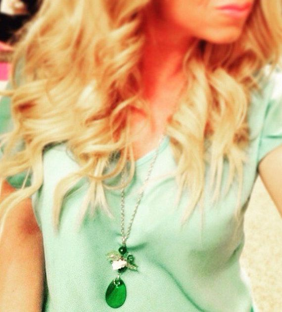 Green Flower Long Layering Necklace $25