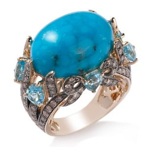 Sky blue topaz with imperial turquoise and diamonds
