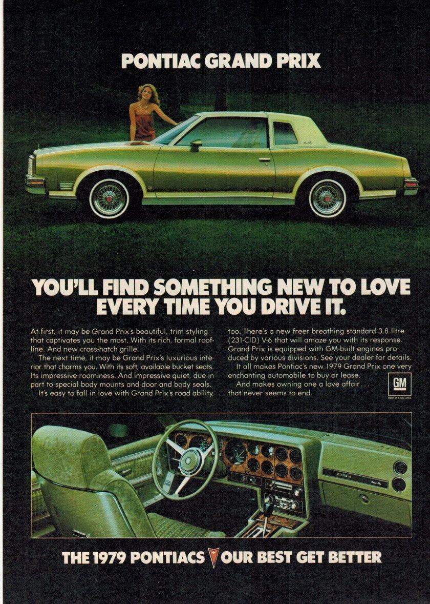 Pontiac Grand Prix Car Advertisement Vintage 1979 Ad In 2020