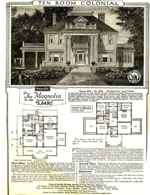 The Magnolia, c. 1918. Model house available through Sears ...