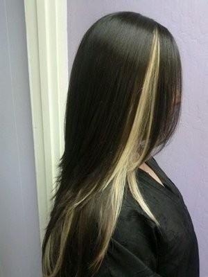 Blonde Peekaboo Highlights On Black Hair Hair Color In