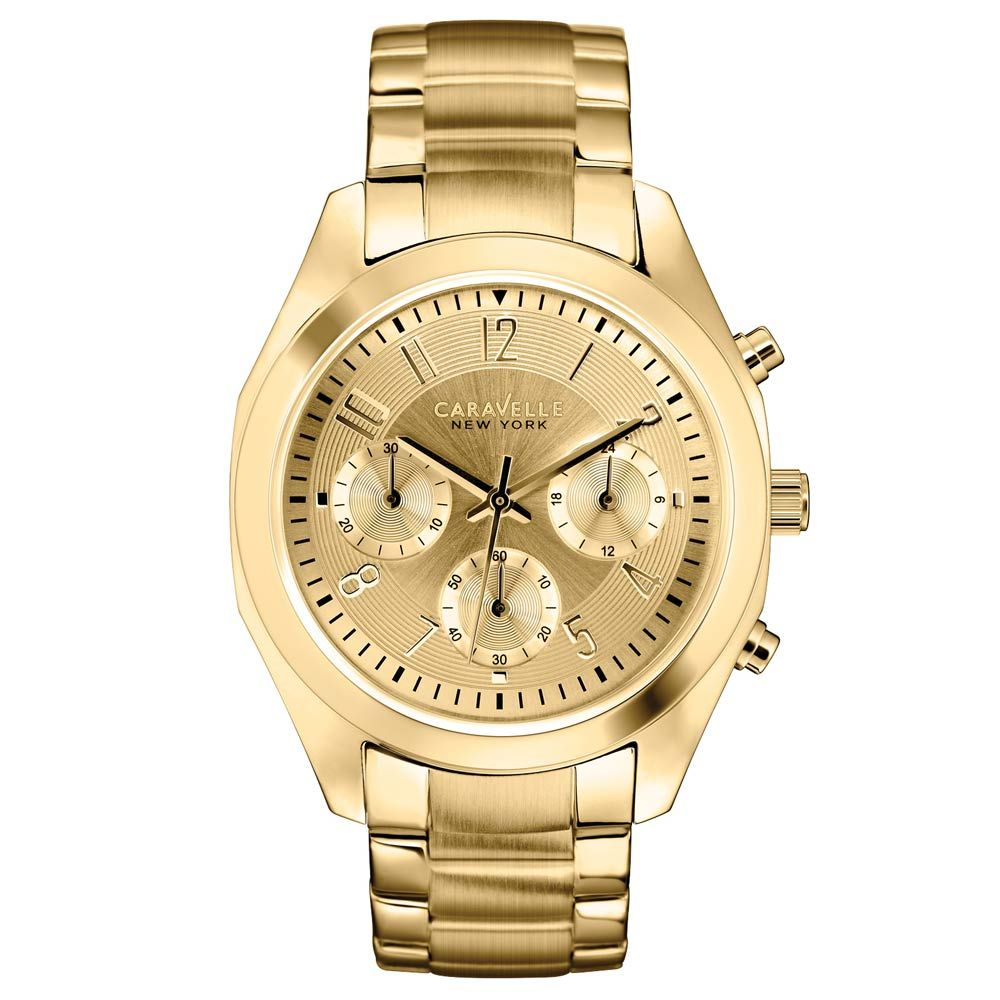 Caravelle 44L118 Women's New York Champagne Dial Chrono Gold Tone Steel Watch,