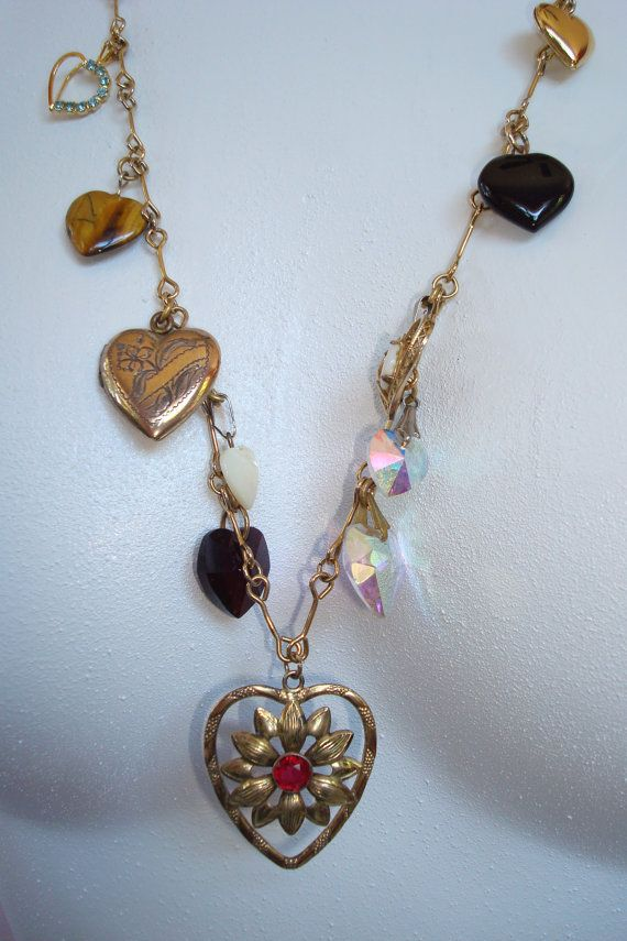 Heavenly Hearts Vintage Re-purposed Necklace by LesliesCurios