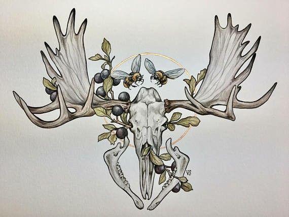 Moose Skull Moose Skull Moose Tattoo Animal Skull Tattoos
