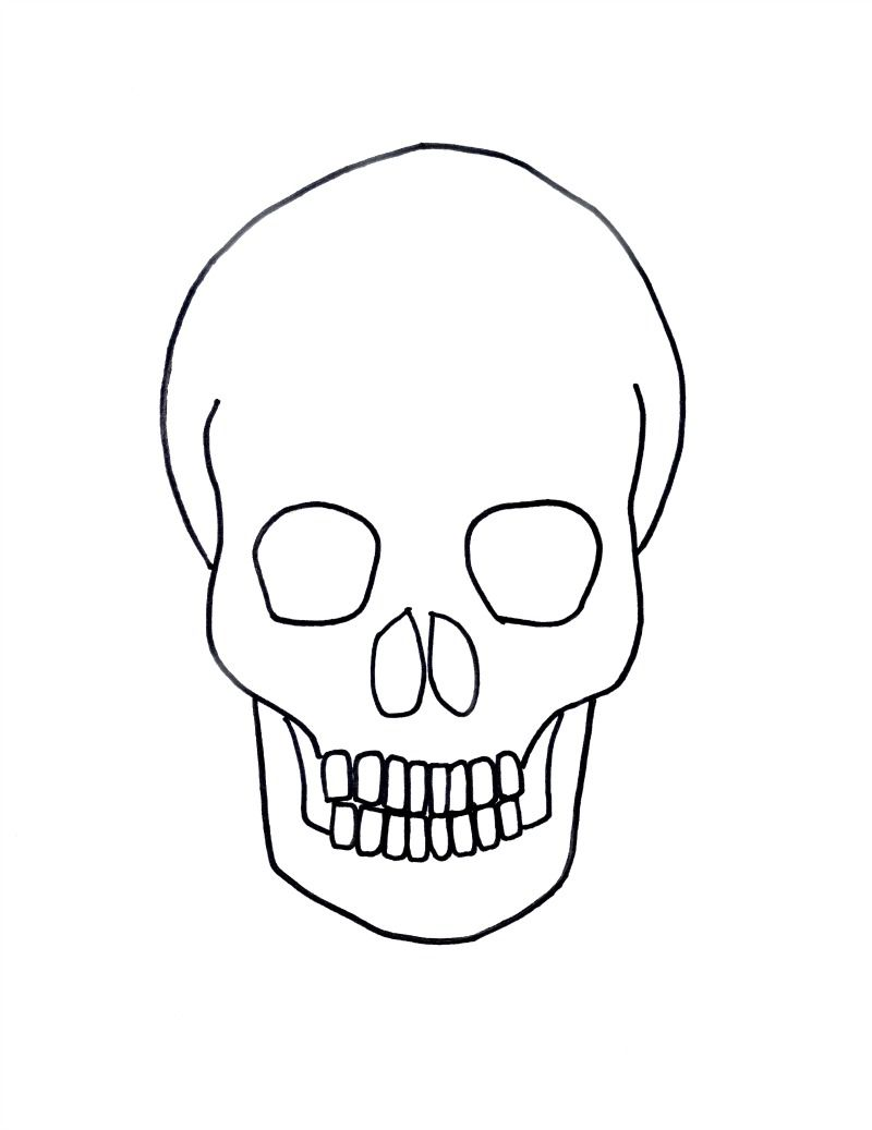 gold on black skull drawing for halloween - Easy Halloween Drawings