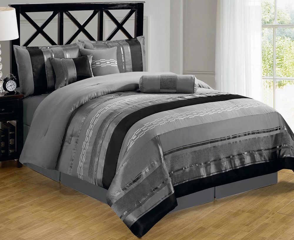 7 piece contemporary metallic silver gray black chenille comforter set king bed and bath. Black Bedroom Furniture Sets. Home Design Ideas