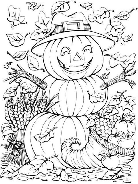 Autumn scenes pumpkins coloring pages for adult coloring for Coloring pages for fall and halloween