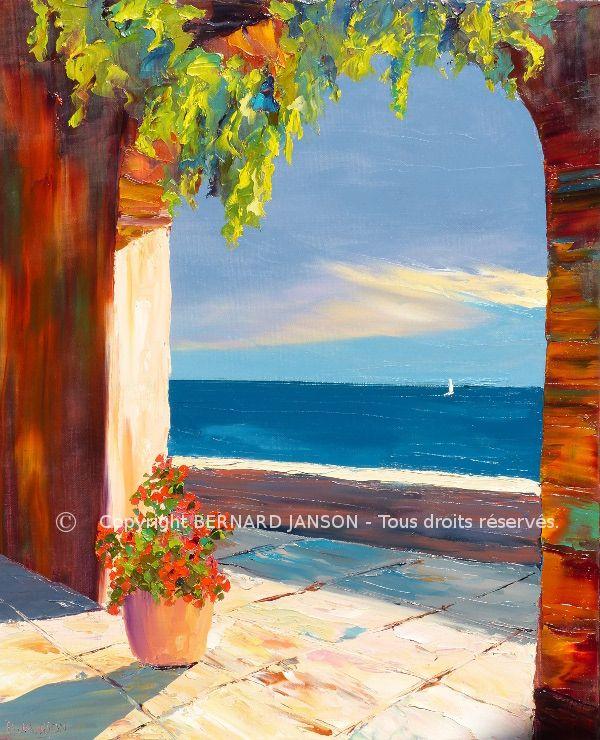 peinture au couteau huile sur toile de lin une terrase au soleil au bord de la mer partie. Black Bedroom Furniture Sets. Home Design Ideas