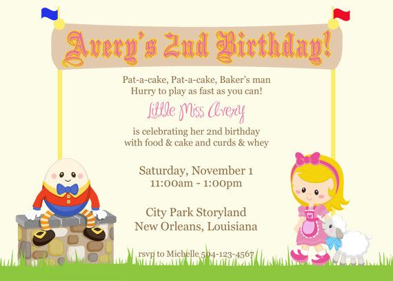 Nursery Rhymes Storyland Birthday Invitation By Lovebandpdesigns 1000