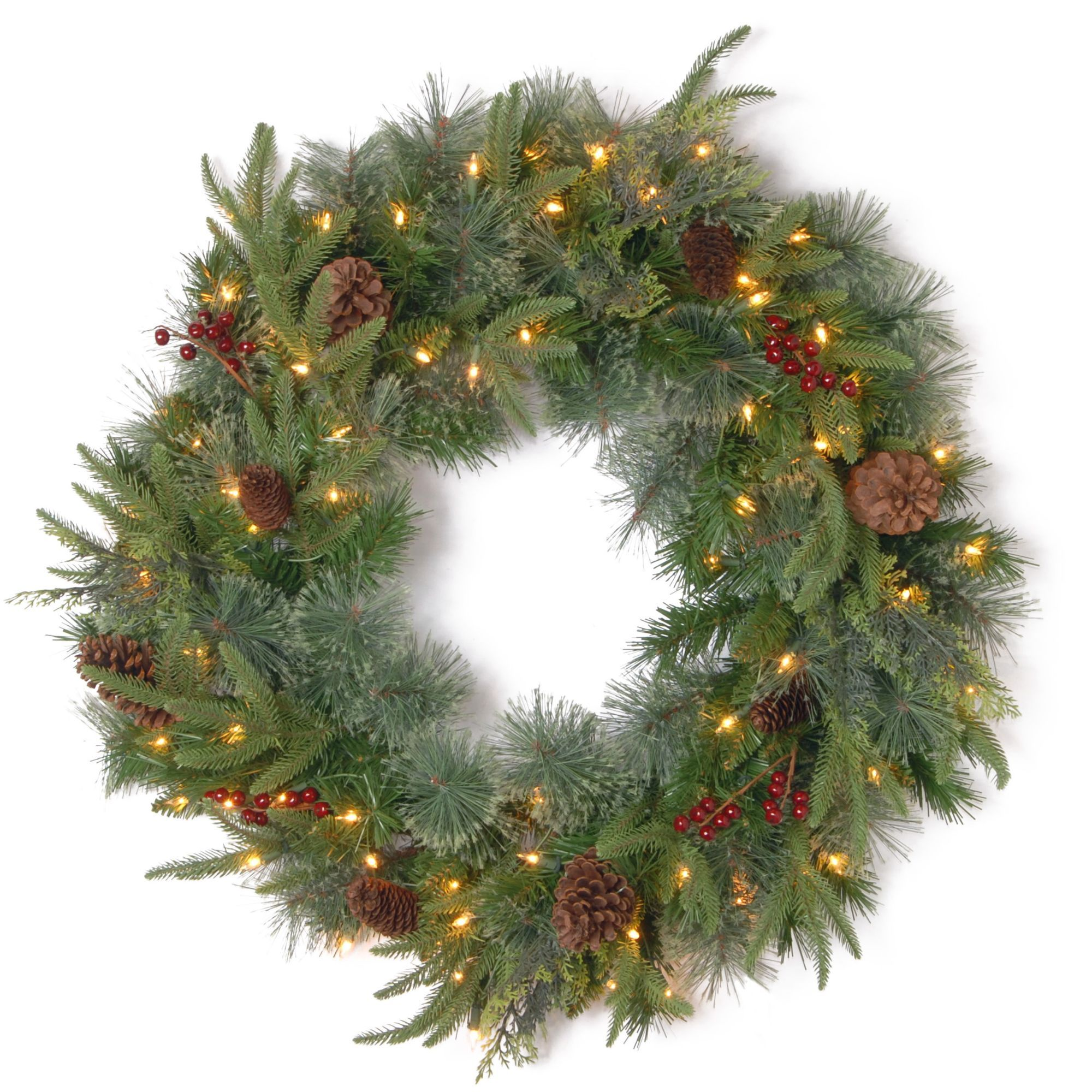 Pre Lit Colonial Artificial Christmas Wreath 30 Inch Clear Lights Artificial Christmas Wreaths Pre Lit Wreath Christmas Wreaths