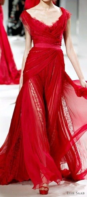 Elle Saab, red evening gown. Haute couture