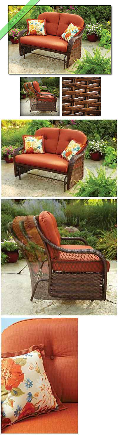 Chairs 79682: Outdoor Wicker Patio Glider Bench Loveseats Garden Chair Yard  Furniture, Seats 2