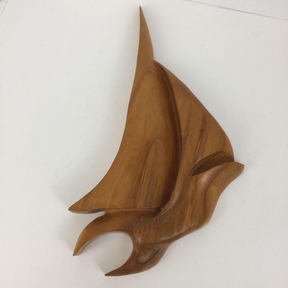 Mid century modern sail boat sculpture wood hand made vintage