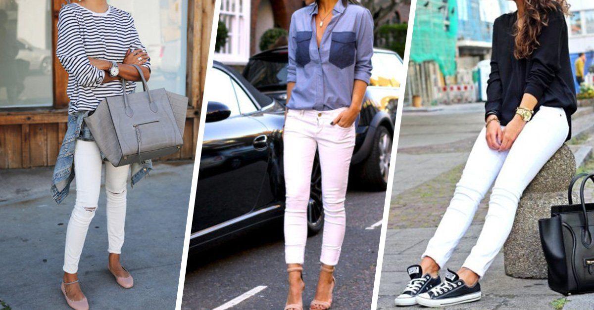 12 Increíbles Combinaciones Para Tus Pantalones Blancos Pantalón Blanco Mujer Combinacion De Pantalon Blanco Como Combinar Colores Ropa