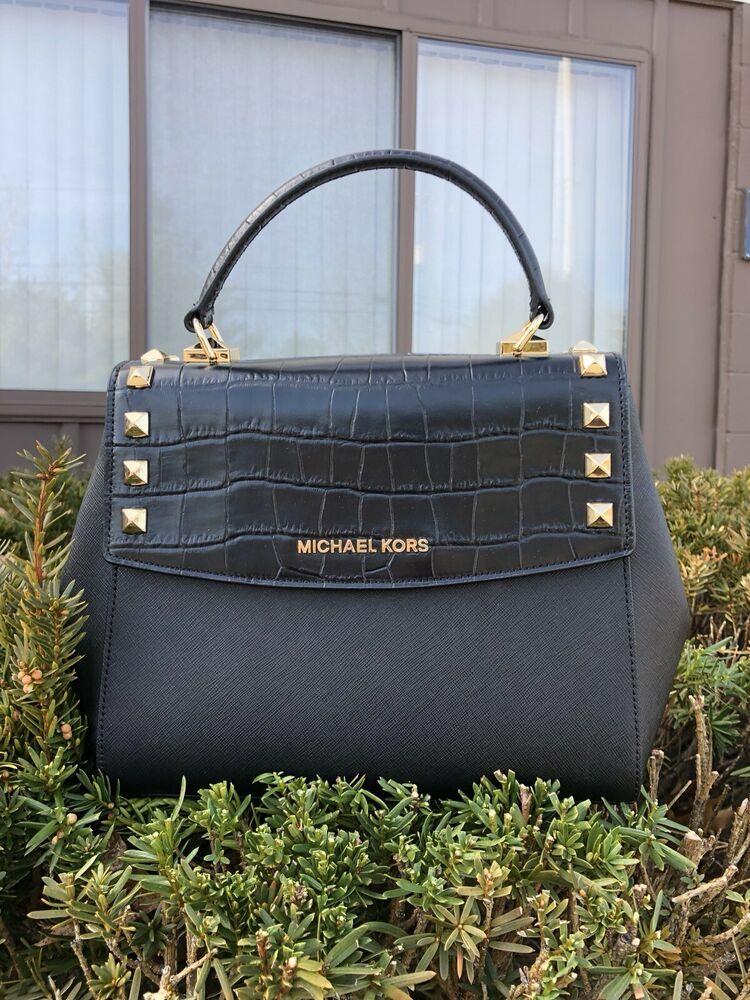 4427f6d8840407 Michael Kors Karla Medium Top Handle Embossed Leather Satchel Crossbody  Black