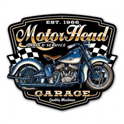 Motorhead Garage Metal Sign 16 X 14 Inches Vintage Metal
