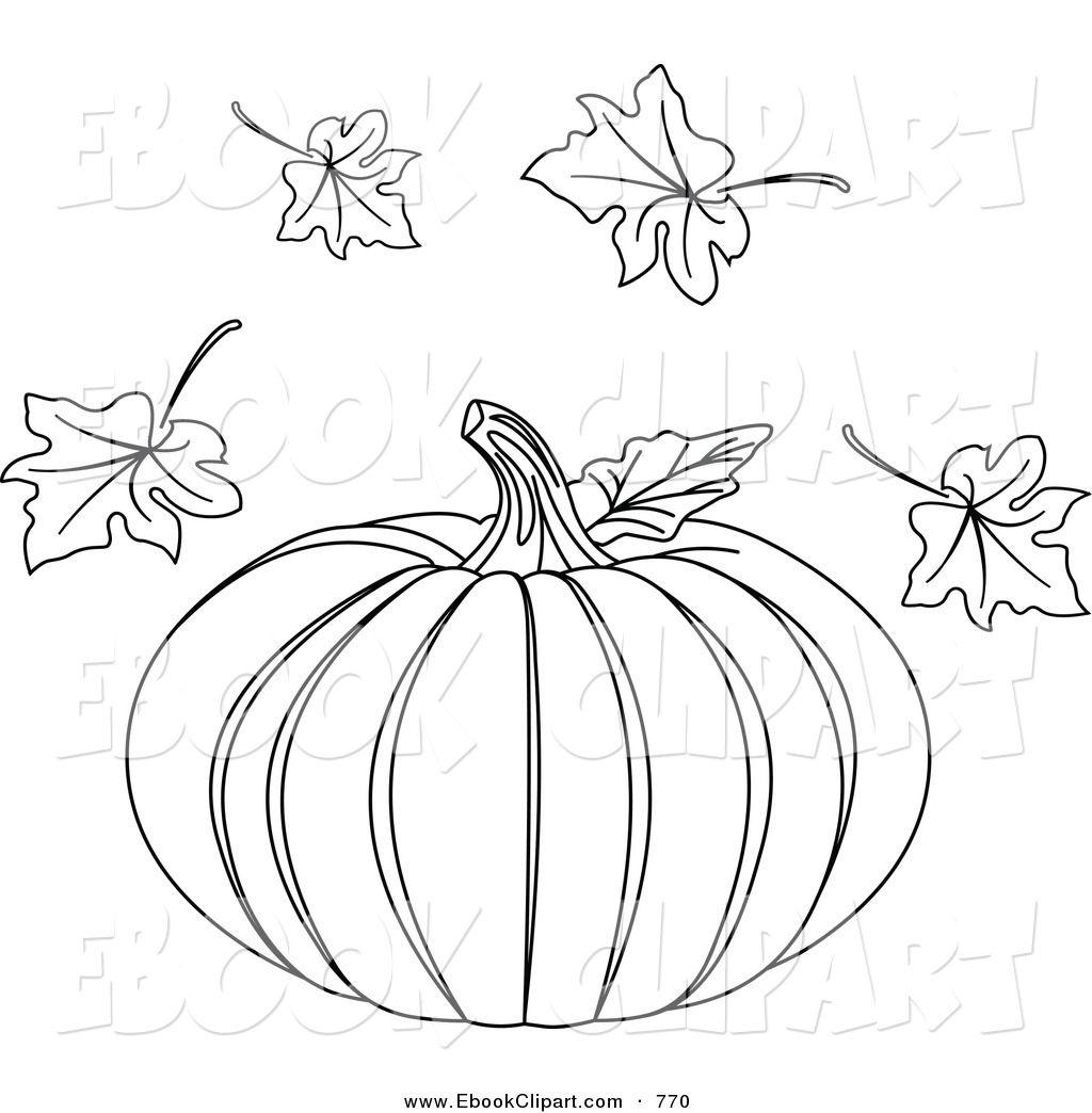 Coloring Book Flowers Outline | Pumpkin Leaf Clipart Outline ...