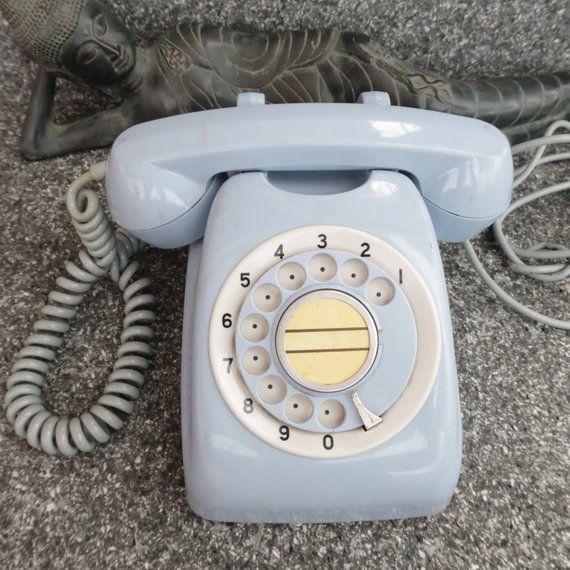 Vintage Japanese Retro Rotary Phone Light Sky Blue Telephone