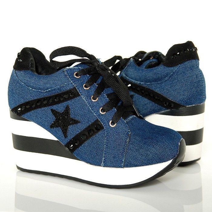 Sneakersy Jeansowe Krotkie Na Koturnie W Paski Www Buu Pl Jeans Shoes Sneakersy Adidas Gazelle Sneaker Adidas Sneakers Wedge Sneaker