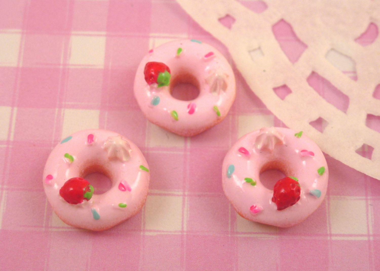 6 x Cute Strawberry & Cream Donut Doughnut Resin Cabochons